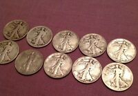 WALKING LIBERTY HALF DOLLAR 1940S COLLECTION HALF ROLL 10 COINS LOT