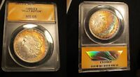 1885-O MORGAN SILVER DOLLAR ANACS MINT STATE 65 RAINBOW TONED COLORFUL
