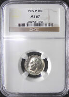 1997 P ROOSEVELT DIME CERTIFIED BY NGC MS 67 PRETTY LOW POPULATION NUMBERS
