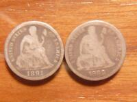 2 DIFFERENT SEATED LIBERTY DIMES 1891 S & 1888 P CIRCULATED CONDITION 6122
