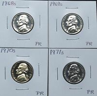 1968S 1969S 1970S & 1971S PROOF JEFFERSON NICKELS 6J23R S T & U