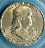 1953 D FRANKLIN HALF DOLLAR PCGS MS65FBL  LIGHT TONE SHARP OBVERSE