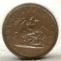 1857 CANADA ONE PENNY BANK TOKEN COPPER. SAINT GEORGE SLAYING THE DRAGON