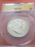 1961 D FRANKLIN HALF DOLLAR  MS 63 BY ANACS