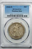 1846 O 50C MEDIUM DATE LIBERTY SEATED HALF DOLLAR PCGS F12