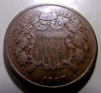 SHARP1867 TWO CENT PIECEBETTER VF/VF OR SO DETAILS OLD 2 CENTER