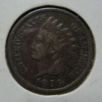 1899 1C BN INDIAN CENT FINE VF COIN
