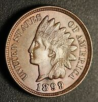 1899 INDIAN HEAD CENT   AU UNC   WITH A TOUCH OF MINT LUSTER