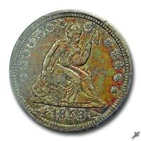 1853 25C ARROWS AND RAYS LIBERTY SEATED QUARTER PCGS XF45 CAC