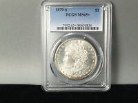 1879-S PCGS MINT STATE 65 PLUS MORGAN SILVER DOLLAR ORIGINAL COIN WITH SOME TONING