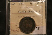 1891 CANADA LARGE CENT SL SD ICCS VF30 SMALL LEAVES SMALL DATE OBV 3