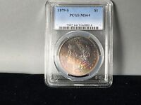 1879-S PCGS MINT STATE 64 MORGAN SILVER DOLLAR OUTSTANDING ORIGINAL TONING, REDS GREEN