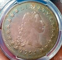 1795 FLOWING HAIR B 7 PCGS VF35 BEAUTIFUL ORIGINAL TONED COIN CLOSE TO XF