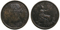 UK 1860 VICTORIA FARTHING TOOTHED BORDER