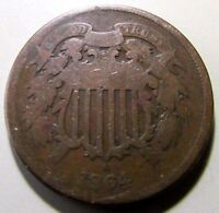 1864  2 CENT PIECE NICE ENTRY GRADE OLD COPPER  CIVIL WAR DATE
