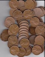 1953D WHEAT PENNIES, FULL ROLL OF 50 PENNIES   COINS ALL READABLE DATES.
