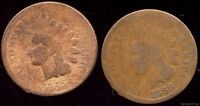 1865 & 1866 INDIAN HEAD CENT PAIR. AG OBVERSE AND GOOD REVERSE