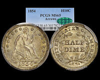 1854 SEATED HALF DIME ARROWS PCGS MS 65 CAC EYE APPEAL