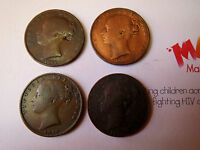 MADABOUTART VICTORIAN FARTHINGS:  YOUNG HEAD COPPER 1847 1853 1841 1846