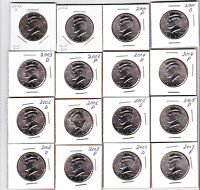 2001 TO 2008 P & D KENNEDY HALF DOLLARS  16 COINS  UNC