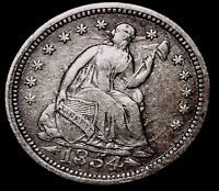 1854 5C SEATED LIBERTY HALF DIME OWTT 90 SILVER  & HANDLING,