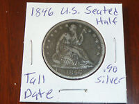 1846 SEATED LIBERTY HALF DOLLAR US SILVER COIN TALL DATE