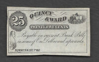 25 C OBSOLETE 1862 QUINCY & WARD RUMNEY NH UNSIGNED REMAINDED HORSE DESIGN