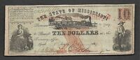 $10 1862 OBSOLETE STATE OF MISSISSIPPI FAITH OF THE STATE PLEDGE TRAIN