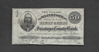 50 C OBSOLETE 1862 VILLAGE OF WATERFORD NY SARATOGA COUNTY BANK EXCEPTIONAL