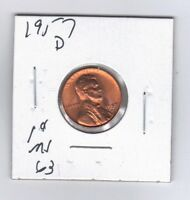 UNCIRCULATED BU 1957 D 1CENT RED LINCOLN WHEAT CENT ,WHEAT EAR PENNY