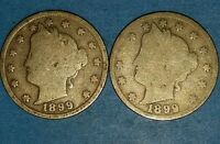 LOT OF 2 1898 LIBERTY NICKELS   ID 26-17,18