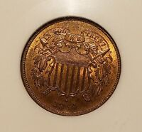 1864 TWO CENT PIECE LARGE MOTTO NGC MINT STATE 64 RB FATTY HOLDER, GREAT TYPE COIN