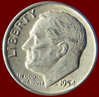 1954 D ROOSEVELT 90 SILVER DIME SHIPS FREE. BUY 5 FOR $2 OFF