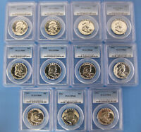 1953 TO 1963 SILVER PROOF PCGS PR66 FRANKLIN HALF DOLLAR 11PC SET