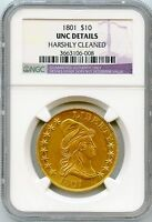 1801 DRAPED BUST 10.00 EAGLE GOLD COIN NGC GRADED UNC DETAILS SPECTACULAR COIN