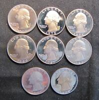 1977 1984 SET OF WASHINGTON PROOF QUARTERS   8 COINS