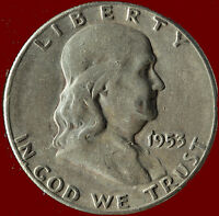 1953 S FRANKLIN 90 SILVER HALF DOLLAR SHIPS FREE. BUY 5 FOR $2 OFF.