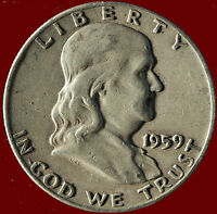 1959 D FRANKLIN 90 SILVER HALF DOLLAR SHIPS FREE. BUY 5 FOR $2 OFF.