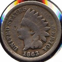 INDIAN HEAD CENT TRIO. 1863 G CLEAN 1864 CN EXTRA FINE  POROUS 1865 BRONZE AG-G BENT,HITS