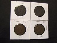 LOT OF 4 LARGE CENTS   1830? 1838? ROTATED DIE 1851 1852