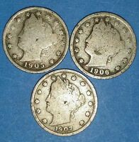 CIRCULATED LOT OF 3 1905 1906 1907 LIBERTY NICKELS  ID 6-234053