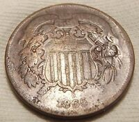 1865 TWO CENT PIECE.  AAAA