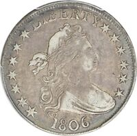 1806 DRAPED BUST HALF DOLLAR POINTED 6, NO STEMS PCGS VF-30 CAC GREAT COLOR