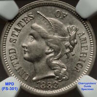 1888/MPD THREE CENT NICKEL FS 301 AU53 CHERRYPICKERS' GUIDE VARIETY