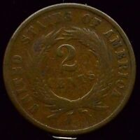 1866 TWO CENT PIECE VG  GOOD CONDITION US COIN  M267