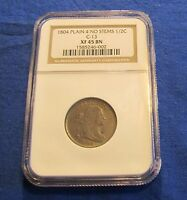 1804 HALF CENT PLAIN 4 NO STEMS C 13 NGC XF45 BN