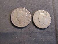 LOT OF 2 CORONET LARGE CENTS   1827 & 1829