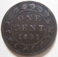 1891 CANADA LARGE CENT COIN. KEY DATE NICE GRADE C146