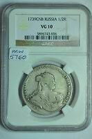 MW5760 RUSSIA;SILVER POLTINA 1/2 ROUBLE 1739  ANNA 1730 1740 NGC VG10