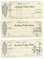 3 VINTAGE HOCKING VALLEY BANK CHECKS LANCASTER OHIO 1862 AND TWO 1863